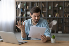Unhappy Man Received Bad Unexpected News In Letter, Having Problem With Bank, Eviction Or Dismissal, Notice, Loss Money Or Debt, Shocked Businessman Reading Notification, Working With Correspondence