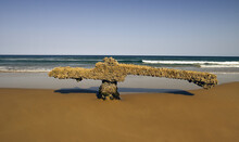 Ship Debris On Beach