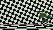 Tropical Plant On Black And White Checkered Background With Optical Illusion