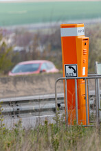 Calais, France - May 03, 2021 : Emergency Call Terminal On A French Highway