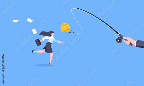 Fotografia Fishing money chase business concept with businesswoman running after dangling dollar and trying to catch it