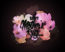A Modern Illustration Of A Happy Mother's Day, With Paper Flowers And Letter On. The Illustration Can Be Used In The Newsletter, Brochures, Postcards, Tickets, Advertisements, Banners, Greetings, Card