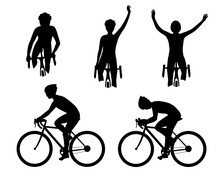Cyclist Silhouette In Action Set. Biker On A Bicycle Race From The Side, Front. Competition, Victory In Sports. Collection Of Vector Illustrations Isolated On White Background