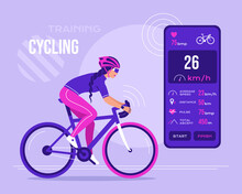 Athletic Woman In A Bicycle Uniform Riding A Bike Using A Workout App On A Smartphone. Healthy Active Lifestyle Concept With Online Cardio Training Program, Marathon. Flat Vector Illustration