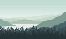 Fresh Morning Air With Great Mountain Views From The Riverside. Vector Illustration