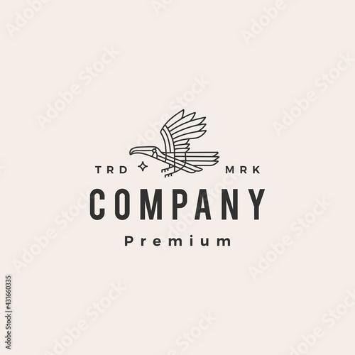 Fototapeta premium toucan monoline hipster vintage logo vector icon illustration
