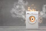 Fototapeta Miasto - Broken Washing Machine With Smoke And Fire