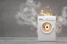 Broken Washing Machine With Smoke And Fire