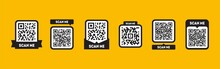 Scan Me Tag Set With QR Codes. Qrcode Icon For Mobile App Isolated On Yellow Background