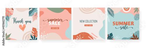 Bohemian Summer, set of modern summer sale post design with rainbow, flamingo, pineapple, ice cream and watermelon  - fototapety na wymiar