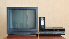 Old Black Vintage TV From 1980s 1990s 2000s For Adding New Images To The Screen, VCR In The Background Of Wallpaper.