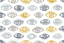 Different Open Eyes Ethnic Endless Pattern.