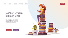 Woman Sitting On The Stack Of Books And Reading. Bookstore, Bookshop, Library, Book Lover, Bibliophile, Education Concept. Vector Illustration For Poster, Banner, Website, Advertising.