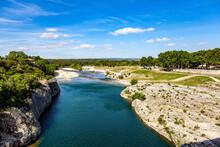 France. The Shallow Gardon River