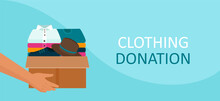 Donation Concept. Vector Of A Man Holding A Cardboard Box Full Of Clothes