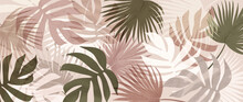 Abstract Art Tropical Leaves Background Vector. Wallpaper Design With Watercolor Art Texture From Palm Leaves, Jungle Leaves, Monstera Leaf, Exotic Botanical Floral Pattern. Design For Banner, Cover,