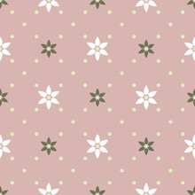 Abstract Geometric Diagonal Seamless Pattern. White And Green Flowers With Six Petals On Dusty Pink Background. Simple Vector Illustration. Polka Dot Floral Design For Print On Textile, Paper