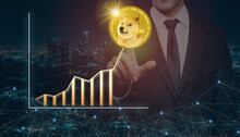 Businessman On A Night City Background Pointing Finger At Virtual Digital Gold Dogecoin And Positive Growth Arrow. Business Development, Investment And Finance Concept.