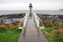 Marshall Point Lighthouse Stands On A Rocky Point At The End Of The St. George Peninsula In Maine On A Foggy Morning.