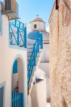 Small Church And Streets Of Thira, Santorini Island, Greece