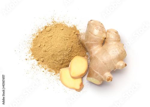 Flat lay of ginger powder with Fresh ginger rhizome and  slices  isolated on white background Fototapet