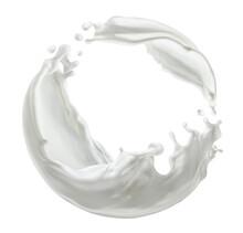 Circle Milk Splash Isolated On White Background