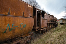 Old Steam Locomotive In The Countryside