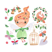 Set Of Watercolor Illustrations With A Fairy, Flowers, Butterflies And Birds