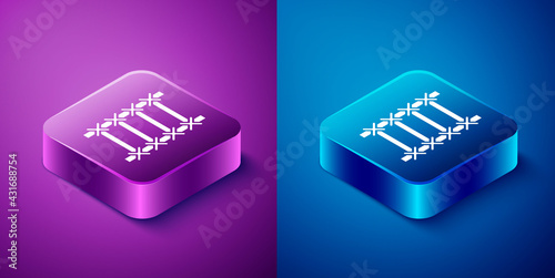 Isometric Fire escape icon isolated on blue and purple background. Pompier ladder. Fireman scaling ladder with a pole. Square button. Vector - fototapety na wymiar