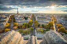Paris Skyline At Sunset During Autumn Season