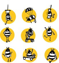 Vector Image Of Black And White Bees In Yellow Circles On A White Background. Funny Insects.