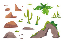 Natural Features Of The Desert Set. Stone, Rock, Cactus, Grass, Bush, Palm. Vector Illustration In Cartoon Children S Style. Isolated Funny Clipart On A White Background. Cute Print