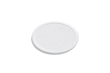 Blank White Round Embroidered Patch Mockup Lying, Side View