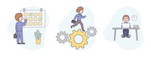 Vector Illustration In Flat Cartoon Style. Linear Composition With Outline. White Background And Characters. Three Business Concepts Together. People With Targets Calendar, Work Cogwheel And Laptop