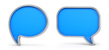 Blue And Silver 3d Speech Bubble Isolated On White Background. 3D Illustration.
