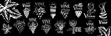 Vector Set Of Hand Drawn Logos For Wine