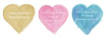 Vector Watercolor Painting Heart Set