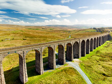 Aerial View Of Ribblehead Viaduct, Located In North Yorkshire, The Longest And The Third Tallest Structure On The Settle-Carlisle Line.