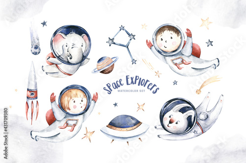 Astronaut baby boy girl elephant, fox cat and bunny, space suit, cosmonaut stars, planet, moon, rocket and shuttle isolated watercolor space ship illustration Spaceman cartoon  - fototapety na wymiar