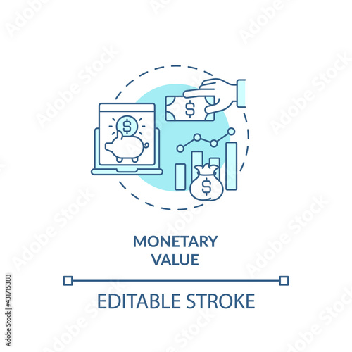 Fototapeta Monetary value concept icon. RFM model analysis idea thin line illustration. Average purchase amount indication. Heavy, big spenders. Vector isolated outline RGB color drawing. Editable stroke obraz