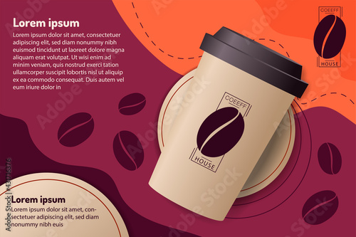 paper cup of coffee on purple and orange background. mockup and templates to create greeting, cards, magazines, cover, poster and banners. vector illustration - fototapety na wymiar