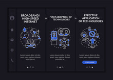 Successful Digital Inclusion Preconditions Onboarding Vector Template. Responsive Mobile Website With Icons. Web Page Walkthrough 3 Step Screens. Technology Dark Theme Concept With Linear Illustration