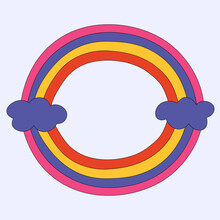 Vector Round Frame Rainbow.Gradient Stripes Ribbon.Hiooie Childish Sphere.Summer Surfing Design Elements In Funky Style 60s 70s.Ellipse Of Blue Colored Stripes Seamless.isolated Vintage Hand Drawn
