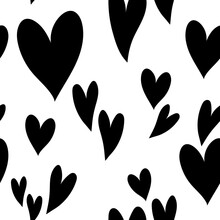 Cute Black White Hearts Pattern, Love Texture, Romantic Print. Festive Seamless Pattern For Valentine's Day - For Paper, For Fabric, For Textile, Romantic Wallpaper With Cute Hearts, Simple Background