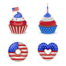 4th Of July Cakes. Set Of American Independence Day Sweets. Isolated Cupcakes And Donuts With America Flag Colors.