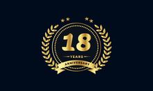 18th Anniversary Golden Label With Ribbon