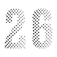 Number Twenty-six, 26 In Halftone. Dotted Illustration Isolated On A White Background. Vector Illustration.