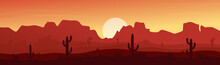 Mexican, Texas Or Arisona Desert Nature At Sunset Night Wide Panorama Landscape