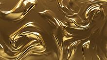 Liquid, Opulent, Luxurious Texture. A Golden Surface For Gold, Glistening Backgrounds.