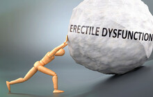 Erectile Dysfunction And Painful Human Condition, Pictured As A Wooden Human Figure Pushing Heavy Weight To Show How Hard It Can Be To Deal With Erectile Dysfunction In Human Life, 3d Illustration